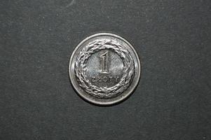 one zloty coin polish money pln