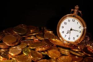 Pocket watch and coins photo