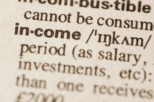 Dictionary definition of word income