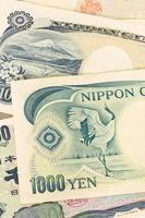 Japanese money yen banknote close-up