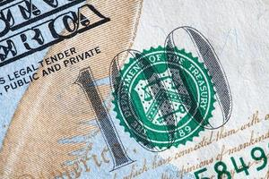 cierre de billete de un dólar foto