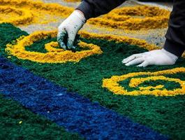 alfombras para corpus christi procesion - brasil 2 foto