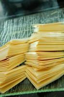 Processed cheese slices photo