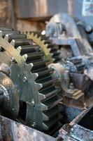 Metal gears close up.