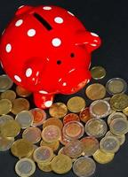 red saving pig with coins photo