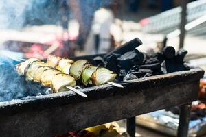 Onions on the grill prepared in street