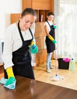 Professional cleaners washing apartment