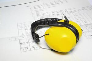 Construction tools on blueprint