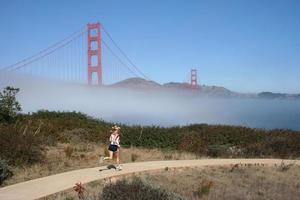 pretty woman jogging photo