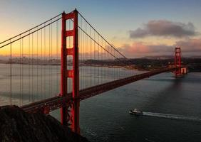 Famous Golden Gate Bridge early in the morning in San Francisco