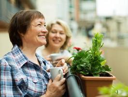 dos amas de casa maduras disfrutando de té en la terraza
