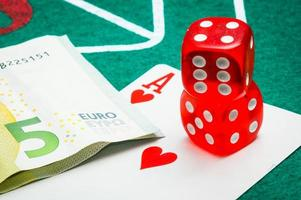 two red dice with euros photo