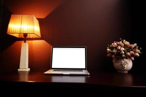 workplace at home with laptop photo