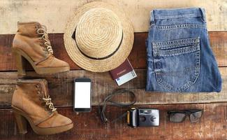Outfit of traveler, student, teenager, young woman or guy.