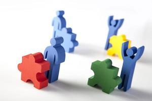 concept van teamwork, mensen en pictogrammen
