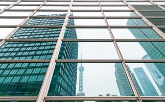 Shanghai China, proyección de muro cortina de vidrio. foto