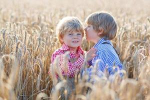 Dos hermanos pequeños divirtiéndose en el campo de trigo amarillo foto