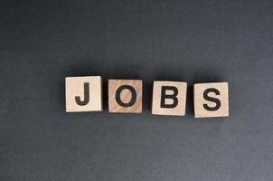 das Wort Jobs aus Bausteinen