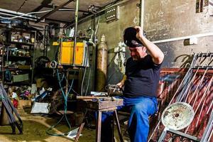 Welder in the workshop photo