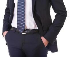 Businessman hands in pockets.