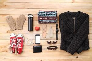 Outfit of traveler, student, teenager, young woman or guy. Overhead