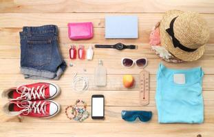 Outfit of traveler, student, teenager, young woman or guy. Overhead photo