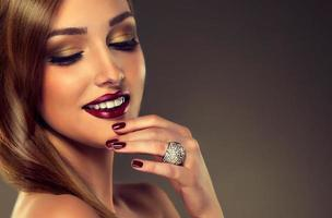 Luxury fashion style, nails manicure. photo