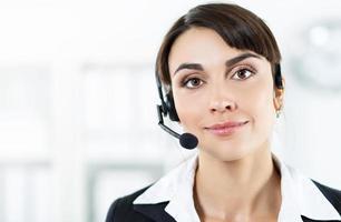 Female call center service operator