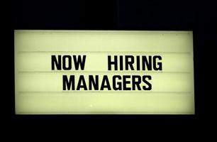 Now hiring sign or marquise photo