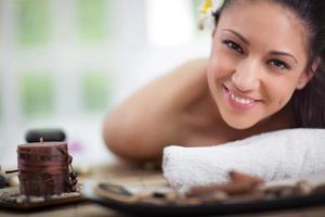 Young woman at spa salon photo
