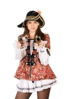 beautiful woman with guns dressed as pirates