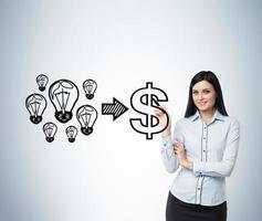 mujer realiza un concepto del negocio exitoso foto