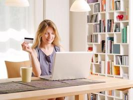 Shopping online with a credit card photo