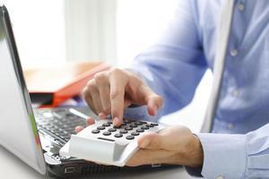 Financier working at bank photo
