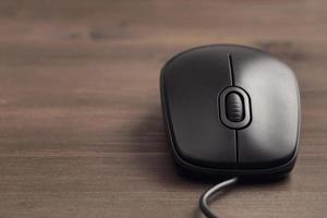 Black computer mouse closeup