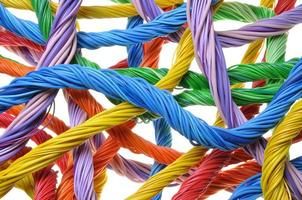 Multicolored computer cable bundles photo