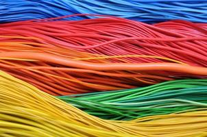 Multi-colored wires in computer networks photo