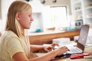 menina usando o computador portátil em casa
