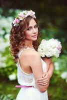 Attractive beautiful woman in greek style