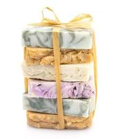 Beauty pile of handmade soap  isolated on white