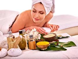 Woman getting spa treatment outdoor photo