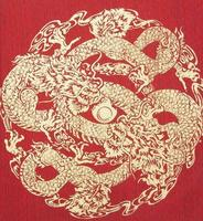 Abstract, Gold Dragon on silk photo