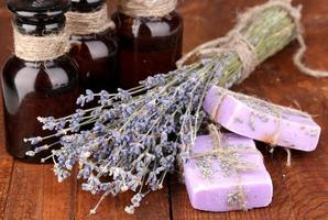 Lavender flowers and jars photo