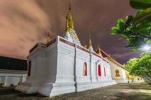 Wat jed yod , Beautiful white pagoda at twilight time photo