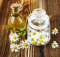 the picked camomile flowers in a glass jar