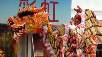 Dragon dancing at Chinese New Year photo