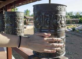 Religious prayer wheels
