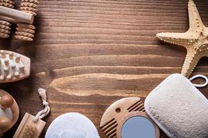 copyspace helthcare background sauna articles on vintage wooden