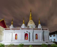 Wat jed yod , Beautiful white pagoda at twilight time