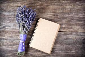 Note with lavender on wooden table